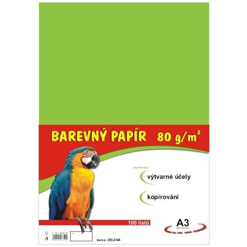 Barevný papír A3 80g - 100 ks - zelený