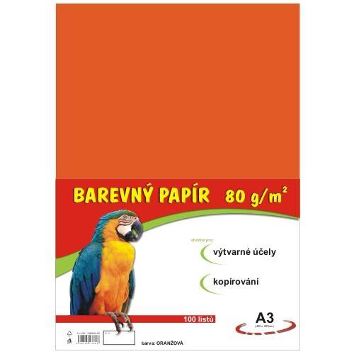 Barevný papír A3 80g - 100 ks - oranžový