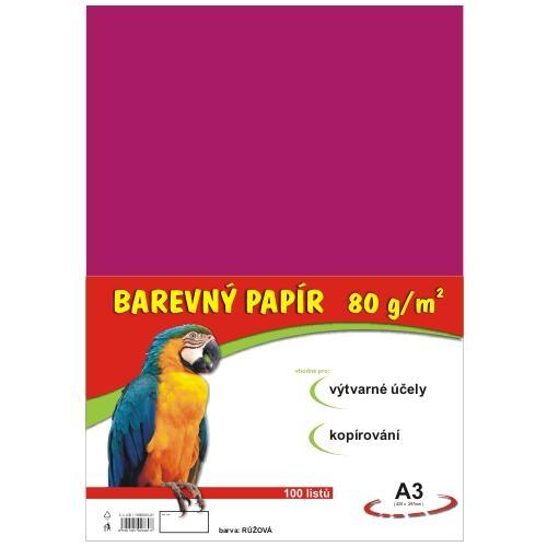 Barevný papír A3 80g - 100 ks - růžový