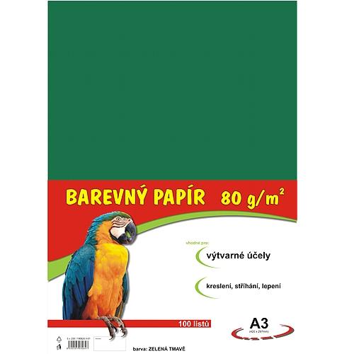 Barevný papír A3 80g - 100 ks - tmavě zelený