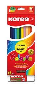 Kores Trojhranné pastelky Kolores 12 barev s ořezávátkem + 8 g lepicí tyčinka ZDARMA