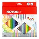 KOLORES STYLE, trojhranné pastelky 3 mm, vč. 4 pastel. a 4 neon. a 6 metalických barev / 26 barev