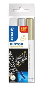 Akrylový popisovač Pilot Pintor, Extra Fine, sada 3 ks, Celebrations