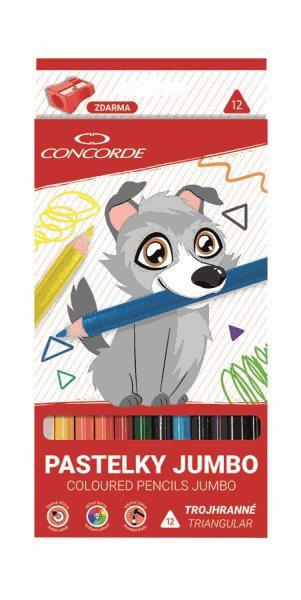 CONCORDE Jumbo pastelky - trojhranné, 12 ks + ořezávátko