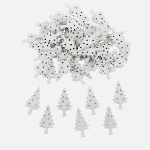 Dekorační dřevěné ozdoby - Stromečky bílé (50 ks)