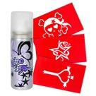 Tetovací sprej - fialová metalíza + 3 šablony