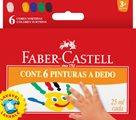 Prstové barvy Faber-Castell, v kalíšku 6 barev, 25ml