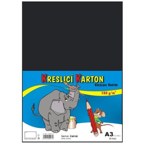 Kreslicí karton barevný A3 - 180g - 50 ks - černý
