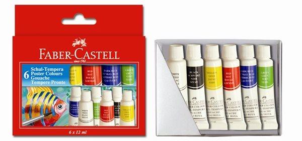 Temperové barvy Faber-Castell, v tubě 6 barev, 12ml