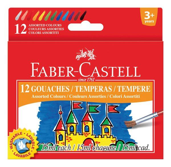 Temperové barvy Faber-Castell 15ml 12 barev, standardní