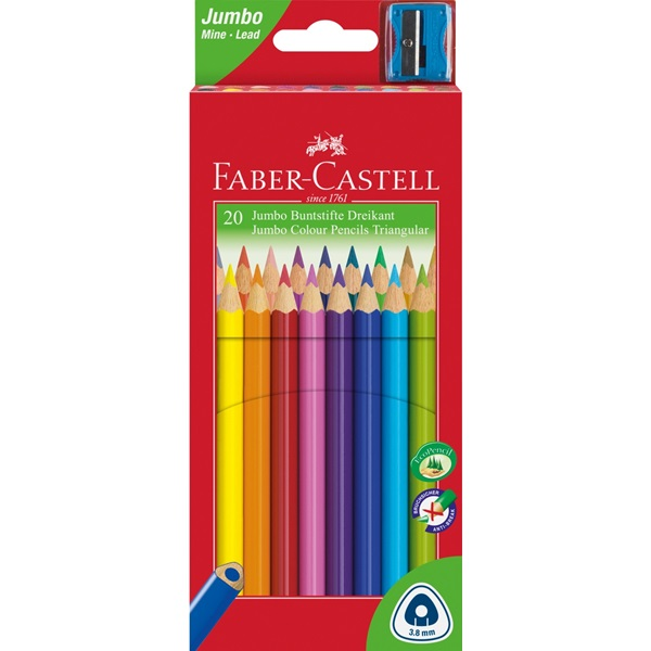 Pastelky Faber-Castell Jumbo trojhranné, 20ks