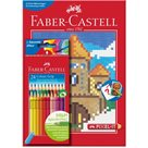 Pastelky Faber-Castell - Grip 2001, 24ks + omalovánky s 12-ti Pixel motivy (A4)