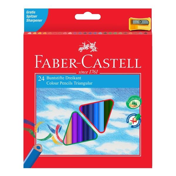 Pastelky Faber-Castell - trojhranné, 24ks + ořezávátko