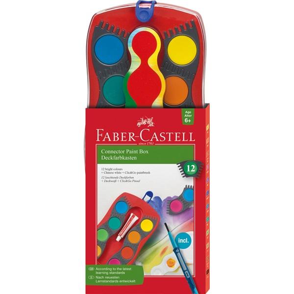 Vodové barvy Faber-Castell - Connector, 12 barev + bílá krycí barva