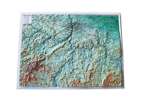 Okolí Prahy - reliéfní nástěnná mapa - 1:120 000 - 100x75cm