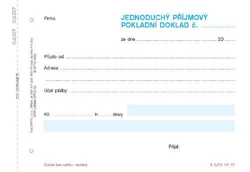 Jednoduchý příjmový pokladní doklad - nečíslovaný - blok A6 100 l.