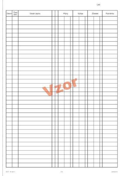 Pokladní kniha na výšku samopropis - sešit A4, 2x25 listů, číslovaná