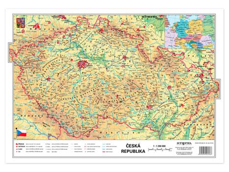Česká republika fyzická / kraje - mapa A3