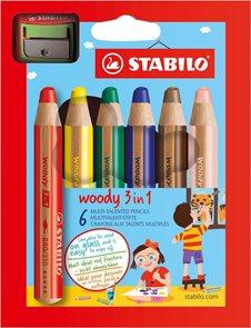 STABILO woody 3 in 1 - 6 barev s ořezávátkem
