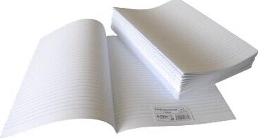 Psací papír dvoulist A4 - linkovaný - formát A3 přeložený na dvoulist A4, 70 g
