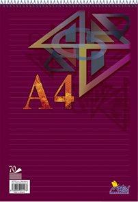 Blok A5 70 listů spirála -  linkovaný 8 mm