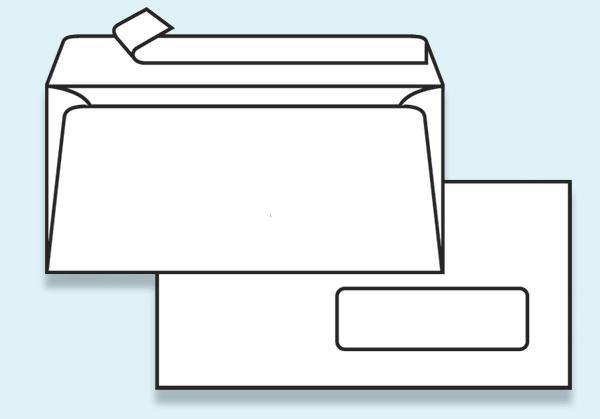 Obálka DL samolepící s krycí páskou - s okénkem - DL
