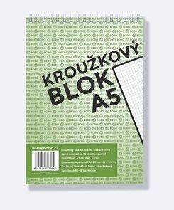 BOBO Blok kroužkový, horní vazba, A5 50 l. čtverečkovaný