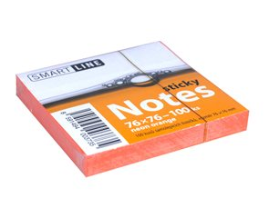 Smart Line Samolepící bloček 76x76 mm 100 listů - Neon Orange