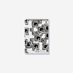 BOBO Blok Black&White s horní spirálou A5 50 listů - linkovaný