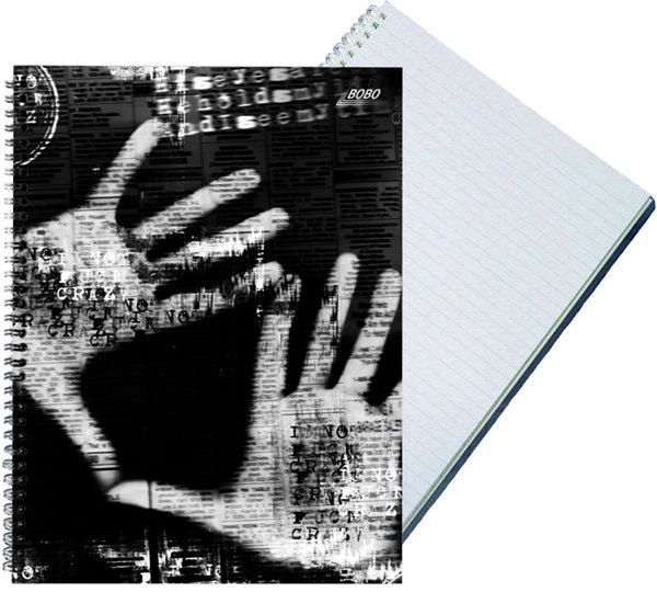 Bobo Záznamní kniha A4 Black&White s boční spirálou A4 50 listů - linkovaná