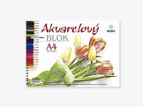 BOBO Akvarelový papír A4 20 listů - kroužková vazba
