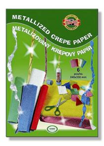 Krepový papír - metalizovaný - 6 ks ( 240x330mm)