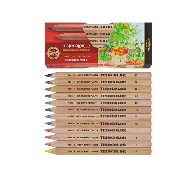 Koh-i-noor Pastelky TRIOCOLOR 3152 dřevěné, 12 barev - trojboké