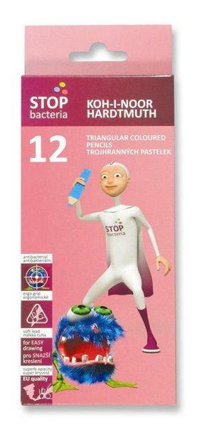 Koh-i-noor pastelky - antibakteriální trojboké - 12 ks