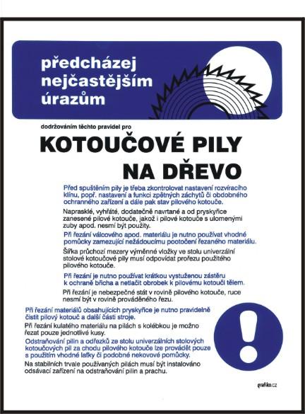 Pravidla bezpečné práce pro kotoučové pily na dřevo - A3/ plast
