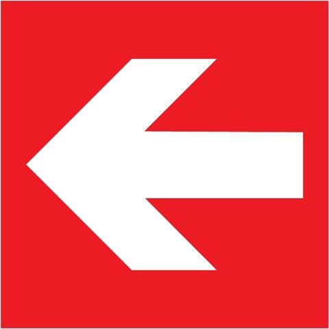 Směrovka levá, pravá, k zařízení PO (červená) - 15×15/ FL-fólie - Svítivost: 400 mcd/m2 po 10 min. (dosvit 5400 min), Sleva 50%