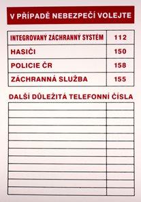V případě nebezpečí volejte (tabulka důležitých tel. čísel) - A4/ plast