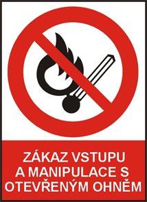 Zákaz vstupu a manipulace s otevřeným ohněm -A4/ plast