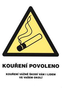 Kouření povoleno (označení restaurací) - 12x16 / plast