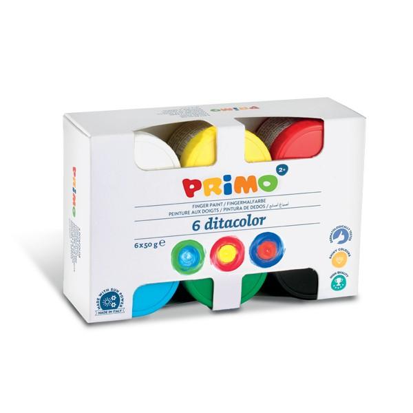 Primo Barvy prstové 6×50 ml, v kelímku, Sleva 20%