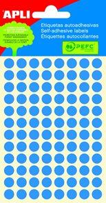 APLI Samolepicí etikety v sáčku 8 mm - modré