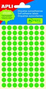 Apli Samolepící etikety v sáčku 8 mm - zelené