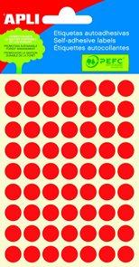 Apli Samolepící etikety v sáčku 10 mm - červené