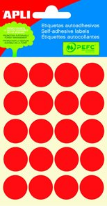 APLI Samolepicí etikety v sáčku 19 mm - červené