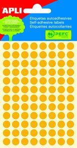 APLI Samolepicí etikety v sáčku 8 mm - oranžové