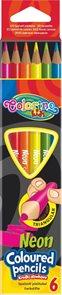 Trojhranné pastelky Colorino - neonové - 6 barev