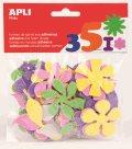 Samolepky pěnové - kytky - 48 ks, mix barev