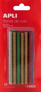 Tavné tyčinky APLI - 12 ks - barevné s třpytkami