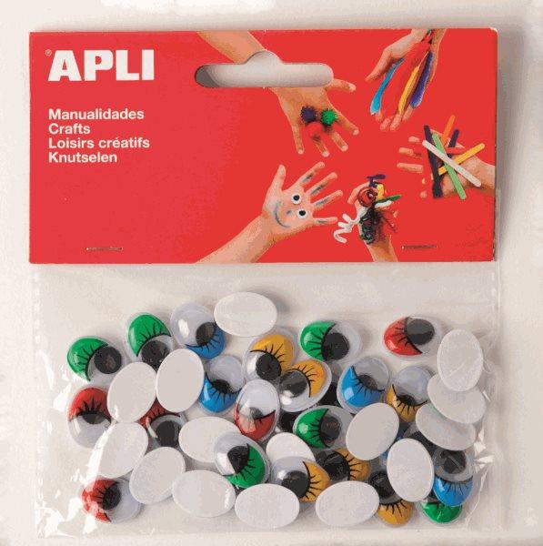 APLI Pohyblivé oči - oválné s řasami, barevné - 40 ks