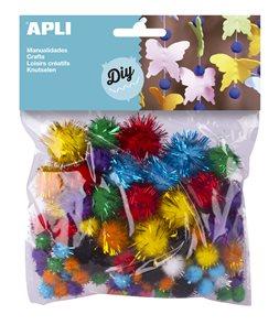 Dekorativní POM POM s třpytkami - barevný mix - 78 ks
